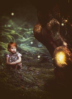Fantasy, Girl, Forest, Tree, Moss, Glowworm, Mushrooms