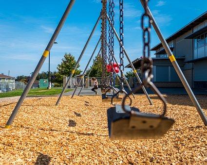 Girl, Playground, Swing, Play, Child, Happy, School