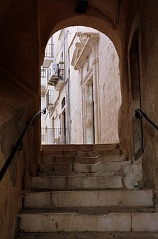 Ascent, Staircase, Arc, Door, Alley, Houses