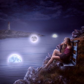 Moon, Girl, Bench, Breakage, Water, Lighthouse, Night
