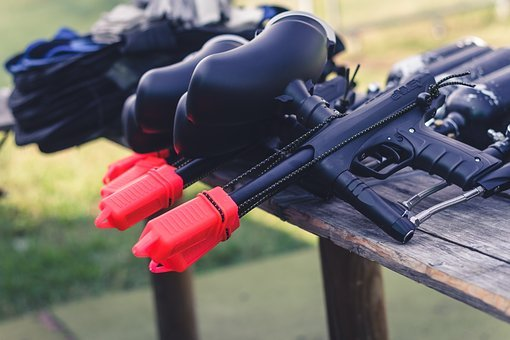 Paintball, Marker, Weapon, Play, Sport, Shoot, Table