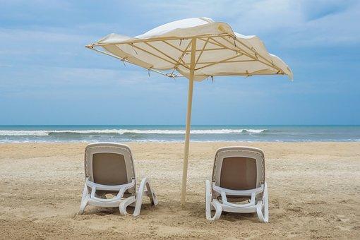 Beach, Chair, Umbrella, Parasol, Sand, Sky, Couple, Sea