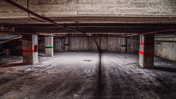 Garage, Underground, Parking, Empty, Dark, Concrete