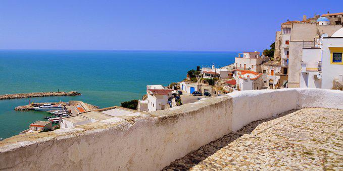 Sea, Houses, Picturesque, Peschici, Gargano, Puglia