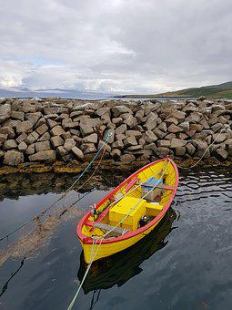 Boat, Harbor, Rowing, Iceland