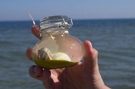 Sea, Poland, Souvenir, Scallop, Jar, Bottle, Water, Sky