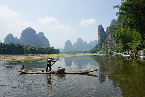Xingping, Bamboo Raft, Fishman