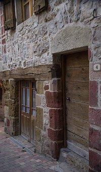 Lozère, La Canourgue, Lane, Village, Doors, Granite