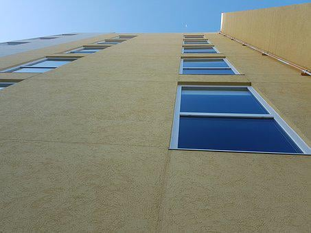 Edificio Visto Desde Abajo, Edificio, Ventanas, Window