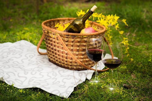 Food, Basket, Wine, Picnic, Glass, Green, Yellow