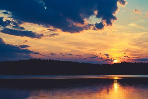 Sunset, Lake, Water, Sky, Nature, Evening, Reflection