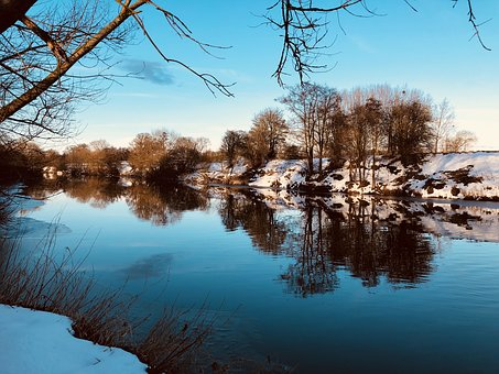 Water, River, Winter, Trees, Wye, Herefordshire