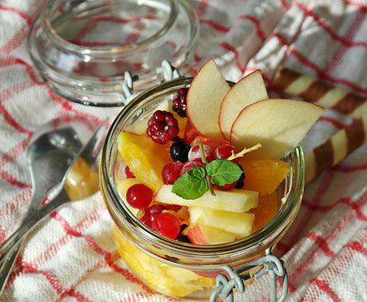 Fruit Salad, Fruit, Orange, Apple, Berries, Juicy
