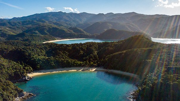 Abel Tasman, Drone, New Zealand, Sea, Bay, Nature