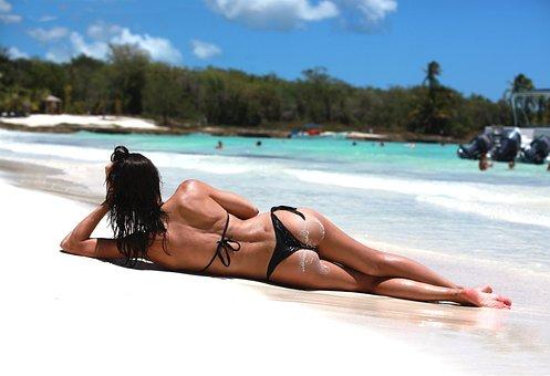 Sea, Beach, Tropics, Caribbean, Girl, Lying, Back, Ass