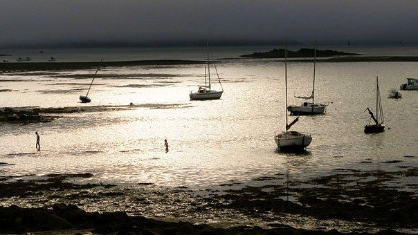 Sunset, Sun, France, Landscape, Sea, Brittany, Coastal