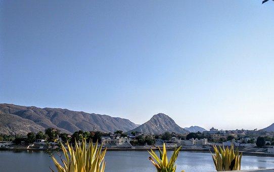 Pushkar, Lake, Landscape, Sky, India, Rajasthan