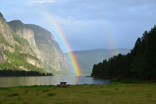 Landscape, Natural, Rainbow, Sky