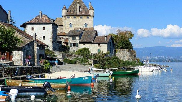 Village, Lake, Yvoire, Alps, Nature, Landscape, Summer