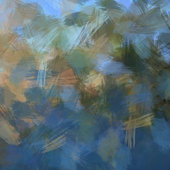 Painted, Lake, Water, Sky, Brush, Bushes, Background