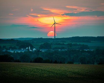 Sunset, Pinwheel, Sky, Abendstimmung, Windräder