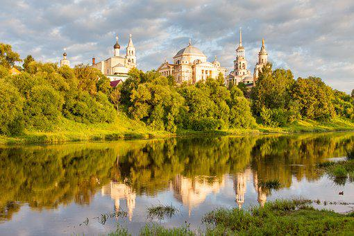 Torzhok, Dawn, Clouds, Russia, Monastery, Temple, River