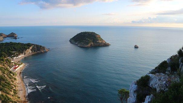 Island, Javea, Spain, Landscape, Summer, Blue