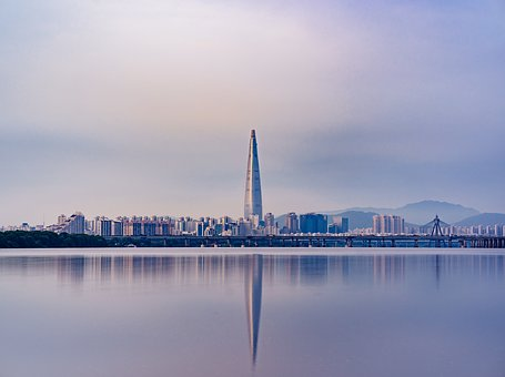 City, Urban, Seoul, River, Building, Tower