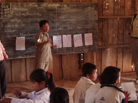 Students, Primary School, Village, Laos, Children