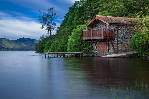 Boat House, Cottage, Waters, Lake, Scotland, Blue