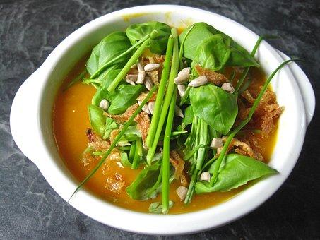 Pumpkin Soup, Healthy, Sunflower Seeds, Fried Onions