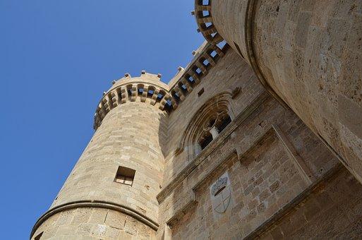 Castle, Rhodes, Great Teacher, Tower, Middle Ages, Sky