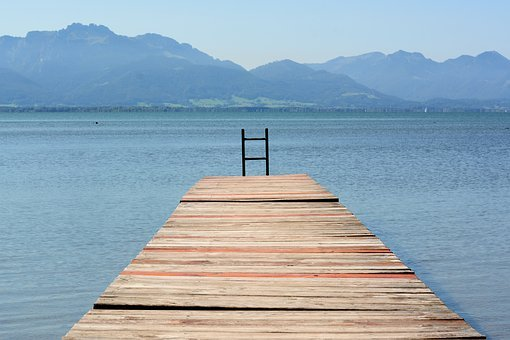 Web, Boardwalk, Chiemsee, Lake, Water, Landscape