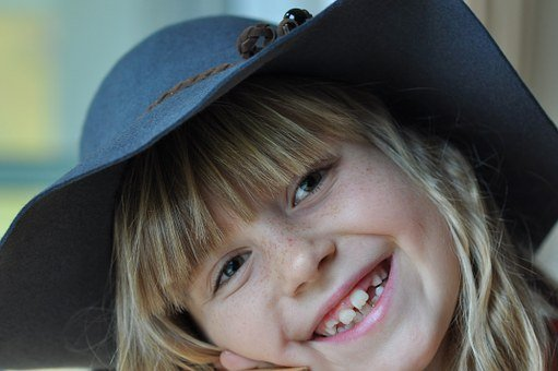 Laugh, Child, Girl, Face, Happy, Human, Blond, Hat