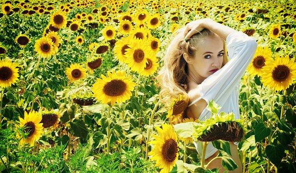 Girl, Summer, Sunflowers, Greens, Nature, Grass