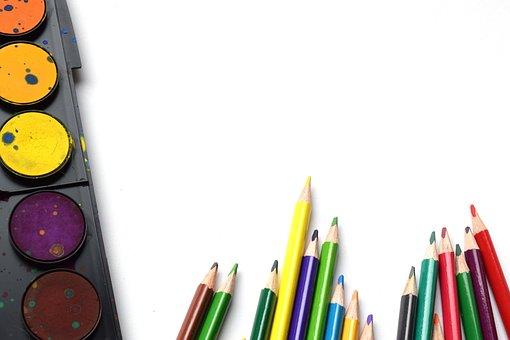 Back To School, Pencils, Rainbow, Art, School Supplies