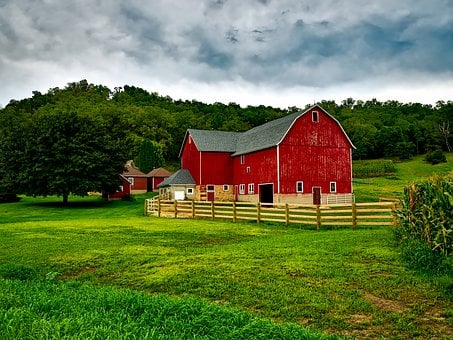 Wisconsin, Farm, Country, Rural, Landscape, Sky, Clouds