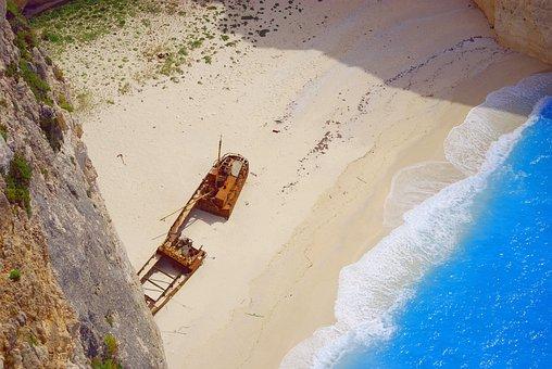 Cove, Beach, Rock, Shipwreck, Sea, Turquoise