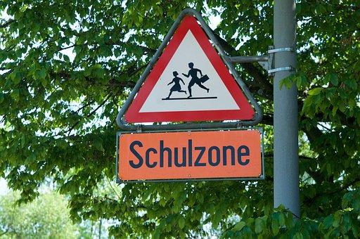 School, Street Sign, Security, Students, School Zone