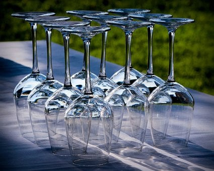 Wine Glasses, Stemware, Crystal, Reception, Party