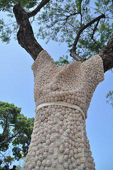 Tree, Street Art, Tree Decoration, Embroidered, Craft