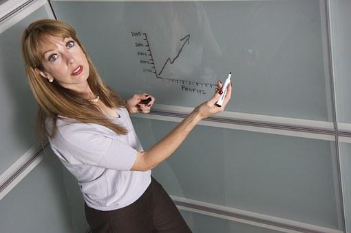 Chalkboard, Classroom, Teacher, Female, College