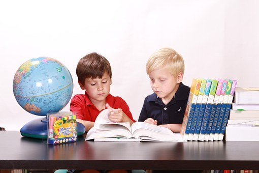 Children, Studying, Togetherness, Boys, Reading, Books