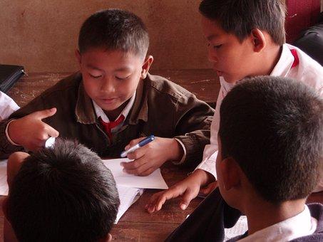 Students, Primary School, Village, Laos, Children