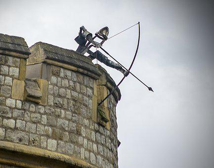 Archer, Turret, Tower, Wall, Castle, Architecture, Old