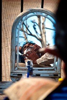 Barber, Vrindavan, India, Travel, Traditional, Krishna
