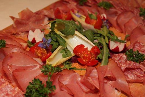 Boiled Ham, Salami, Wurstplatte, Buffet, Cold Buffet