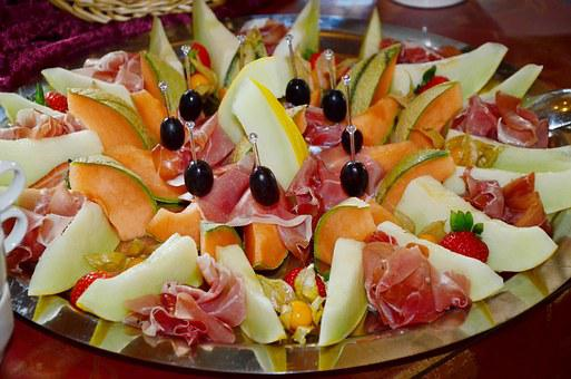 Melon, Cantaloupe, Starter, Melon With Ham, Ham, Wreak