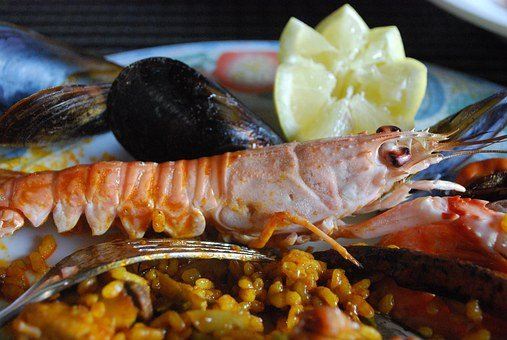 Mat, Norway Lobster, Lemon, Clam, Paella, Fork
