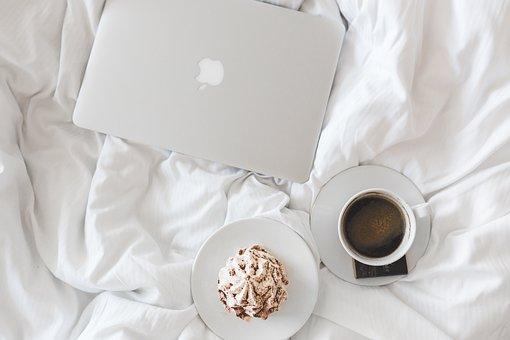 Coffee, Cup, Apple, Laptop, Working, Bed, Bedroom